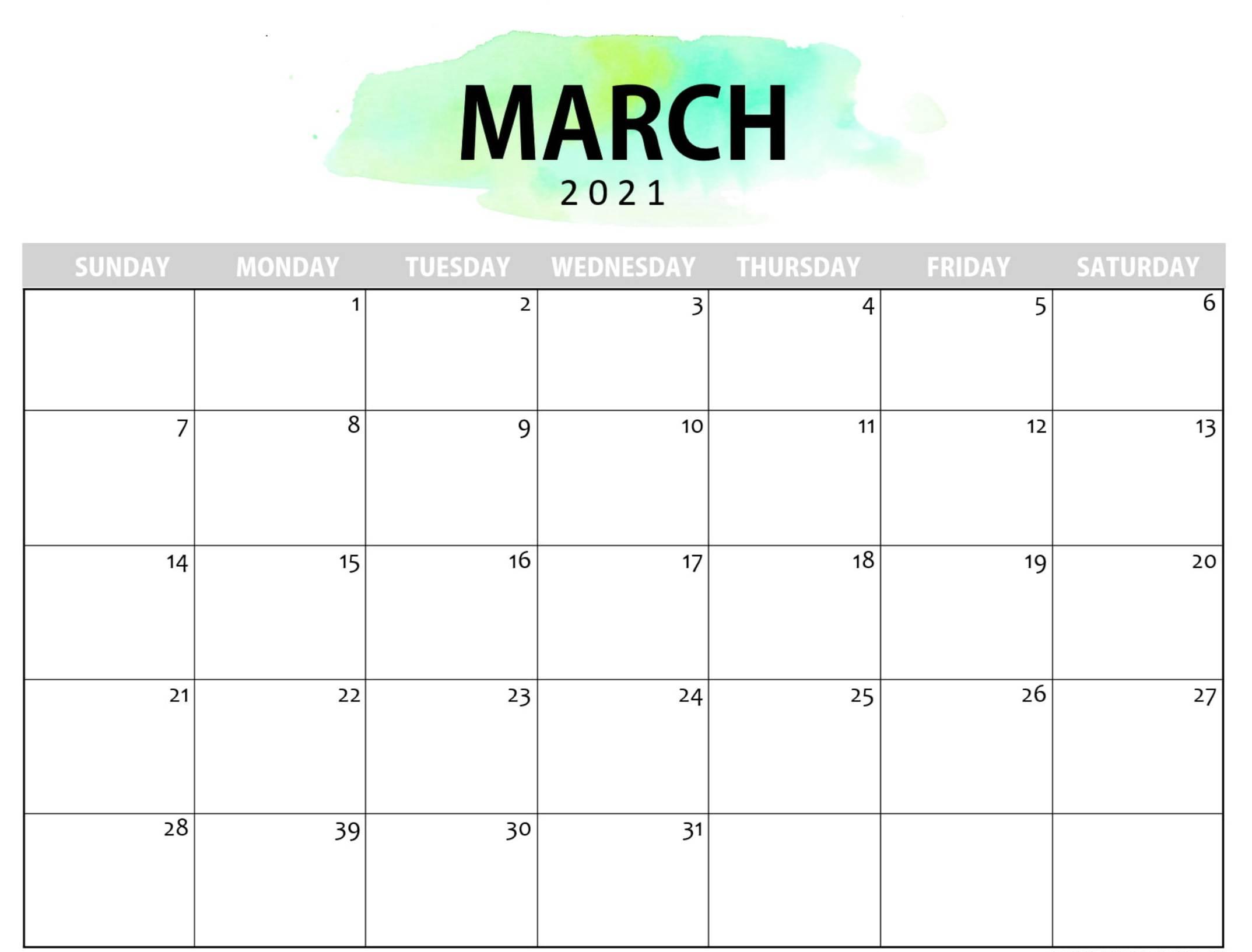 Printable Cute March 2021 Calendar Template Images Set