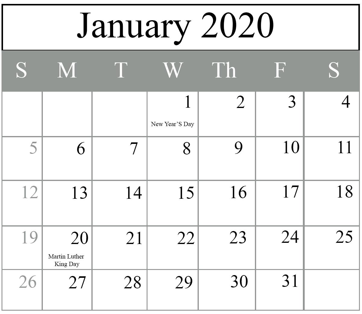 Printable January 2020 Holidays Calendar January