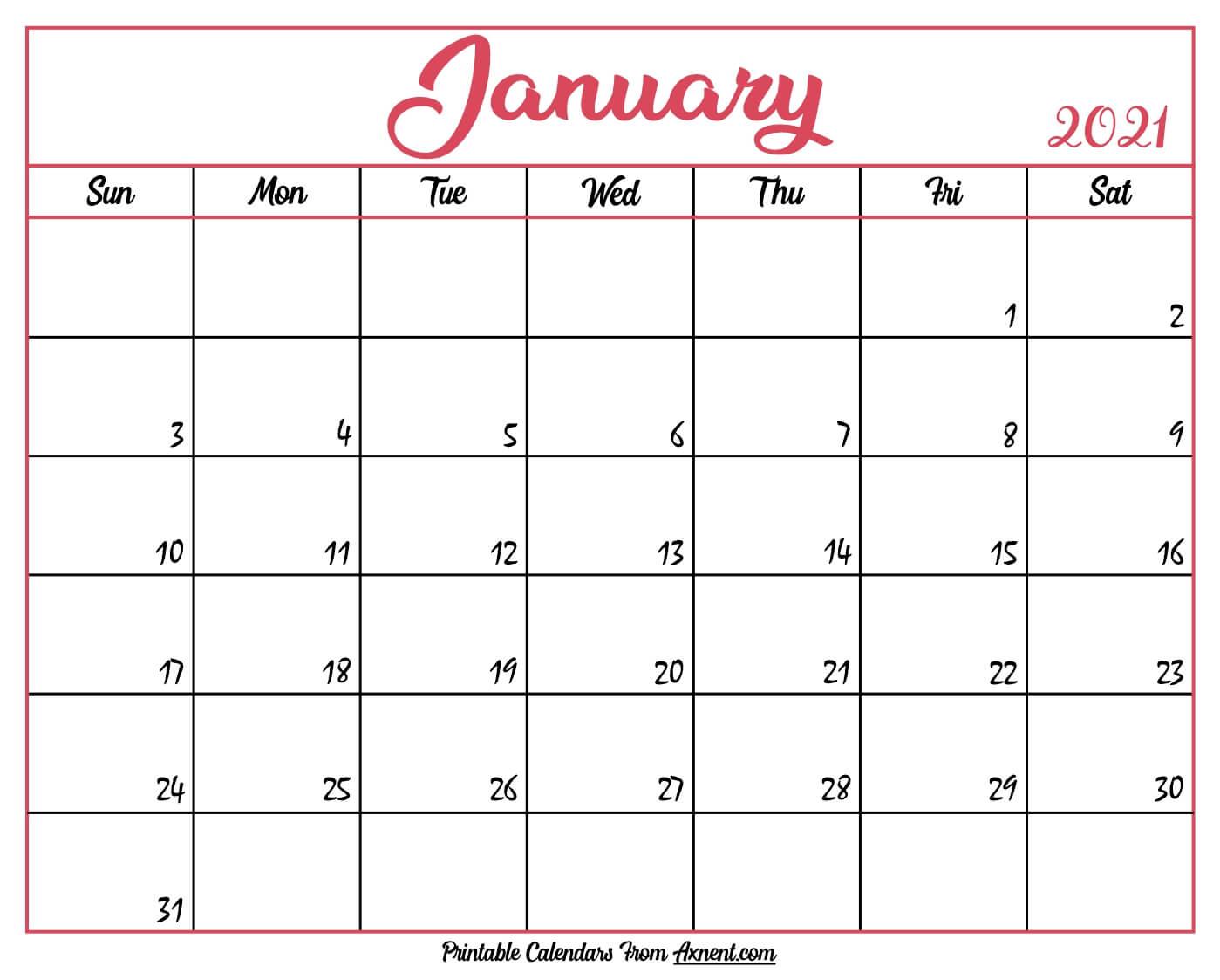 Printable January 2021 Calendar Template Time Management