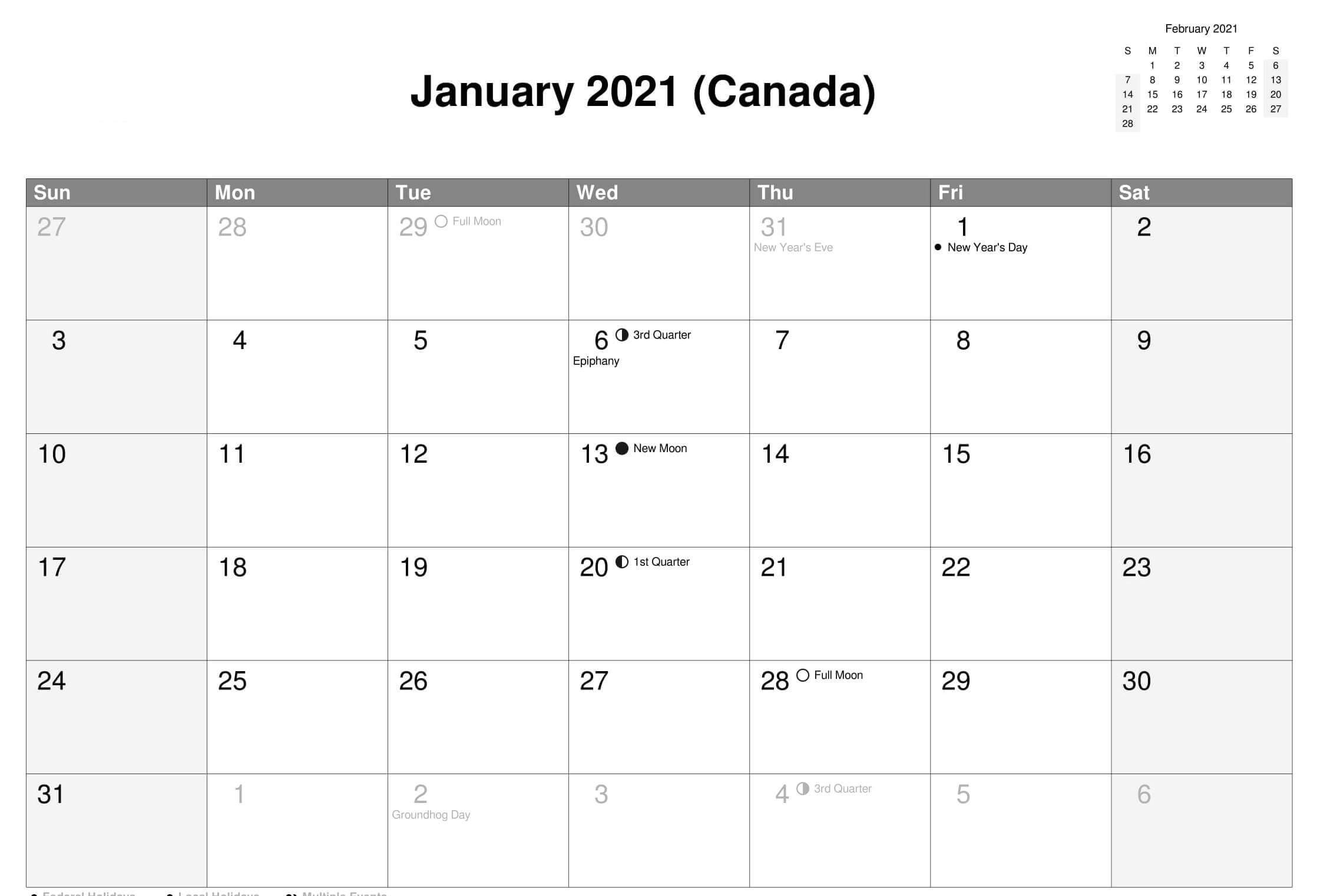 Printable January 2021 Calendar With Holidays Sheets 1