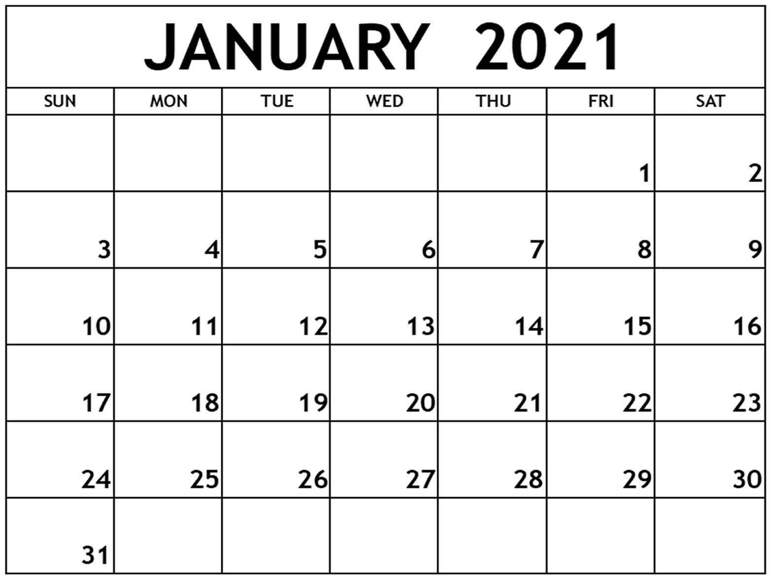 Printable January 2021 Calendar With Holidays Sheets