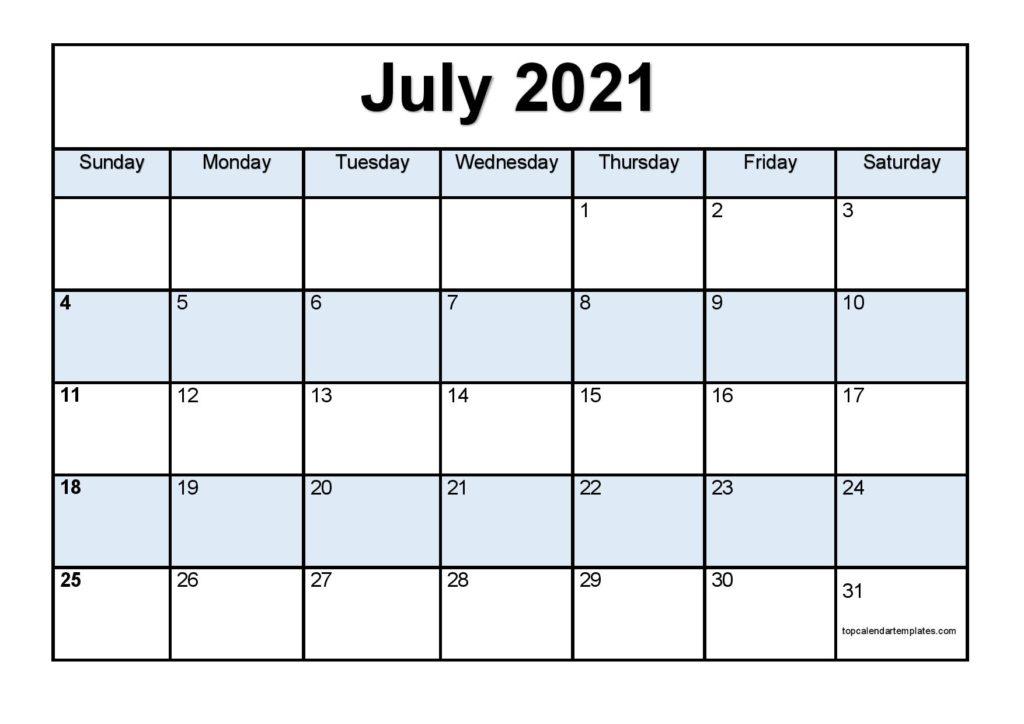 Printable July 2021 Calendar Template Pdf Word Excel