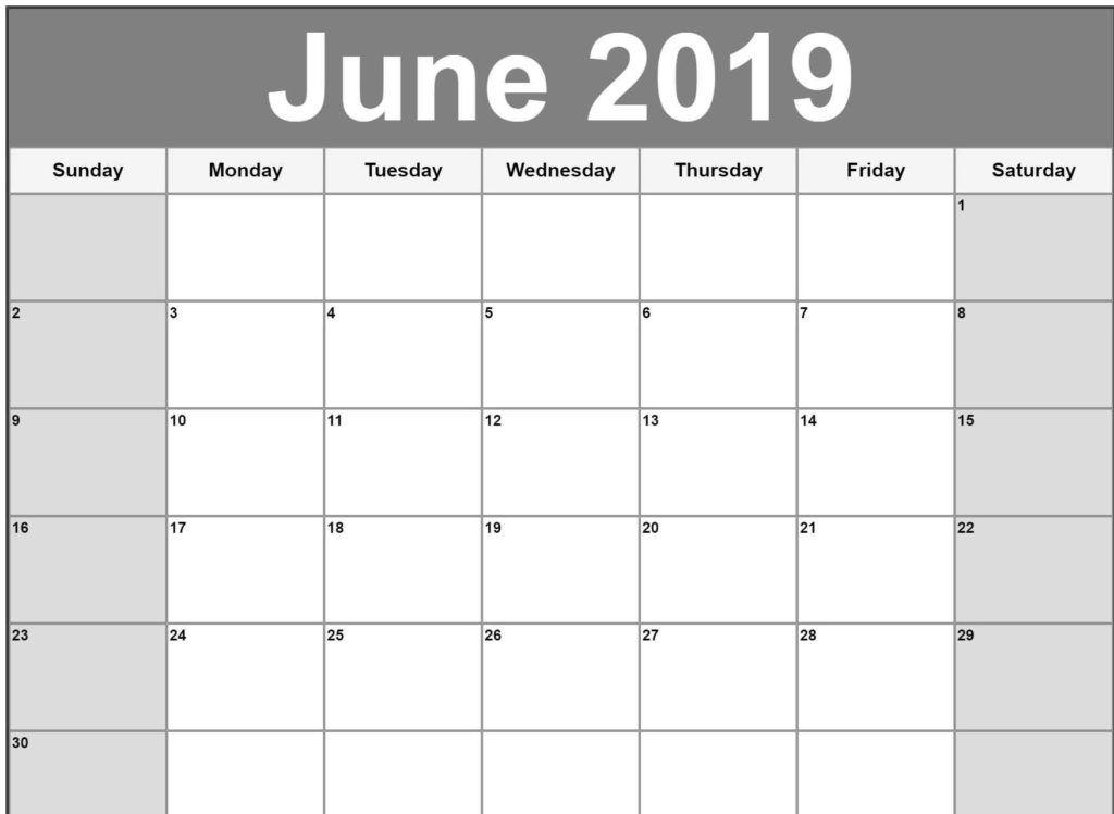 Printable June 2019 Editable Calendar Calendar Printables