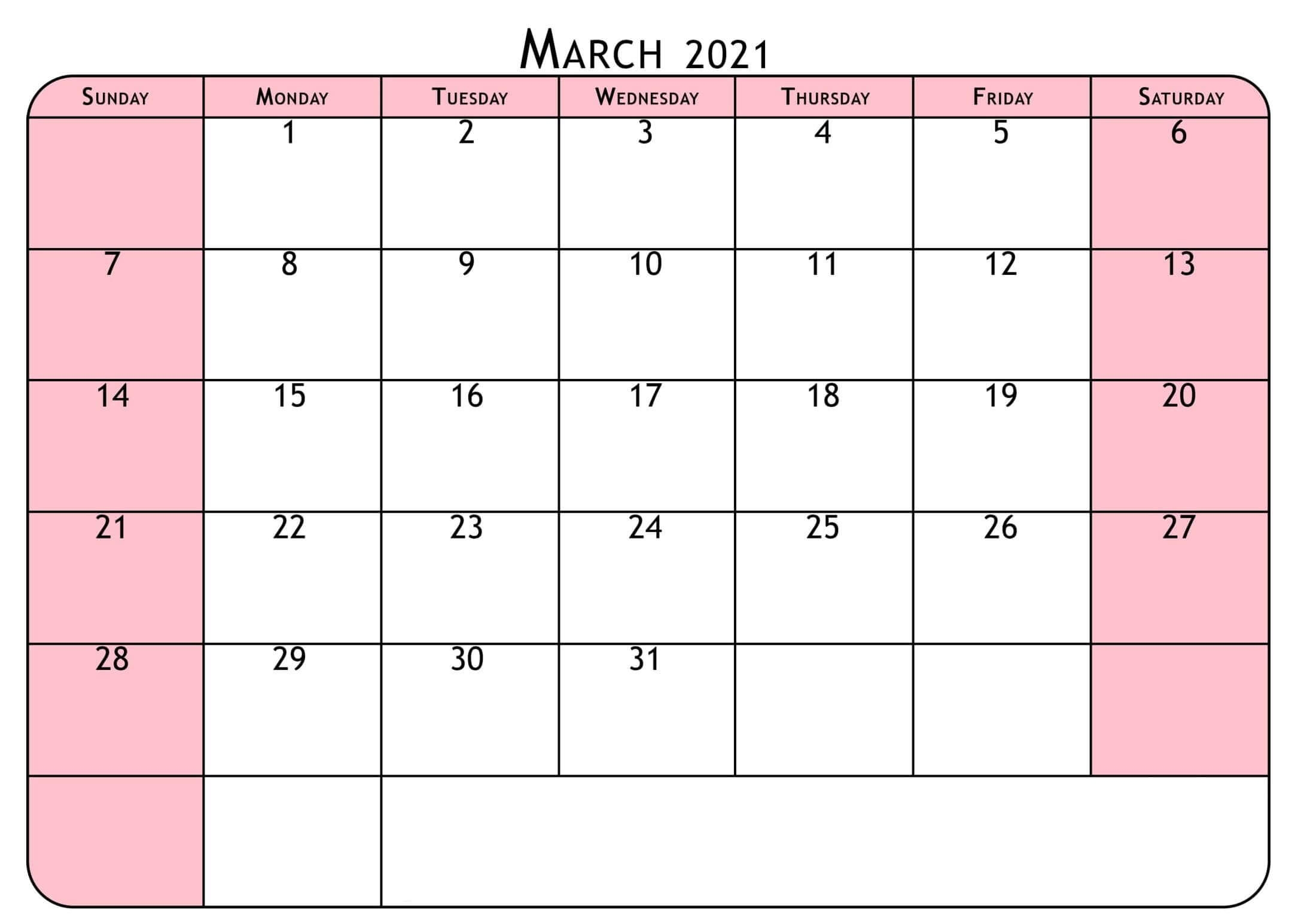 Printable March 2021 Calendar Holidays Template One