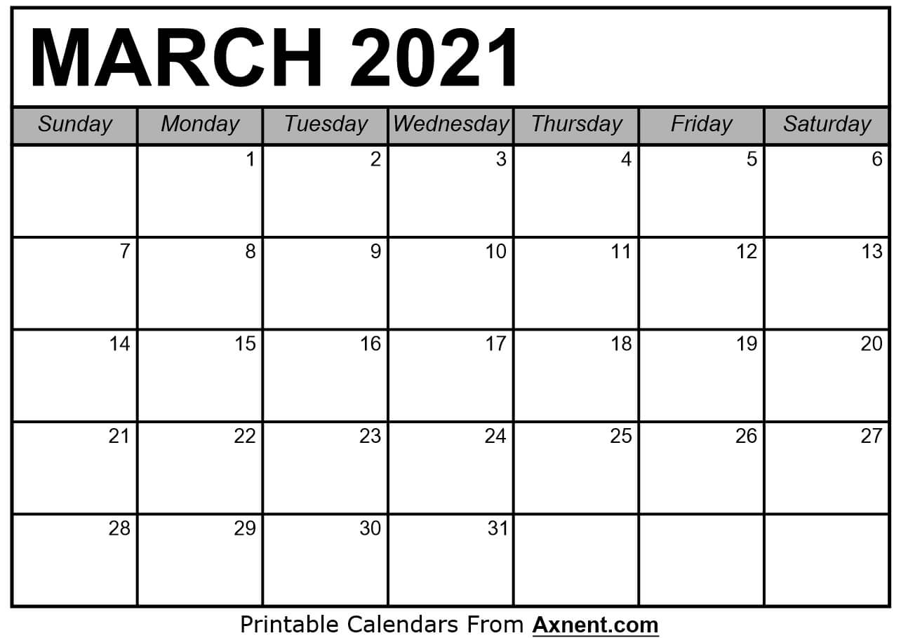 Printable March 2021 Calendar Template Time Management