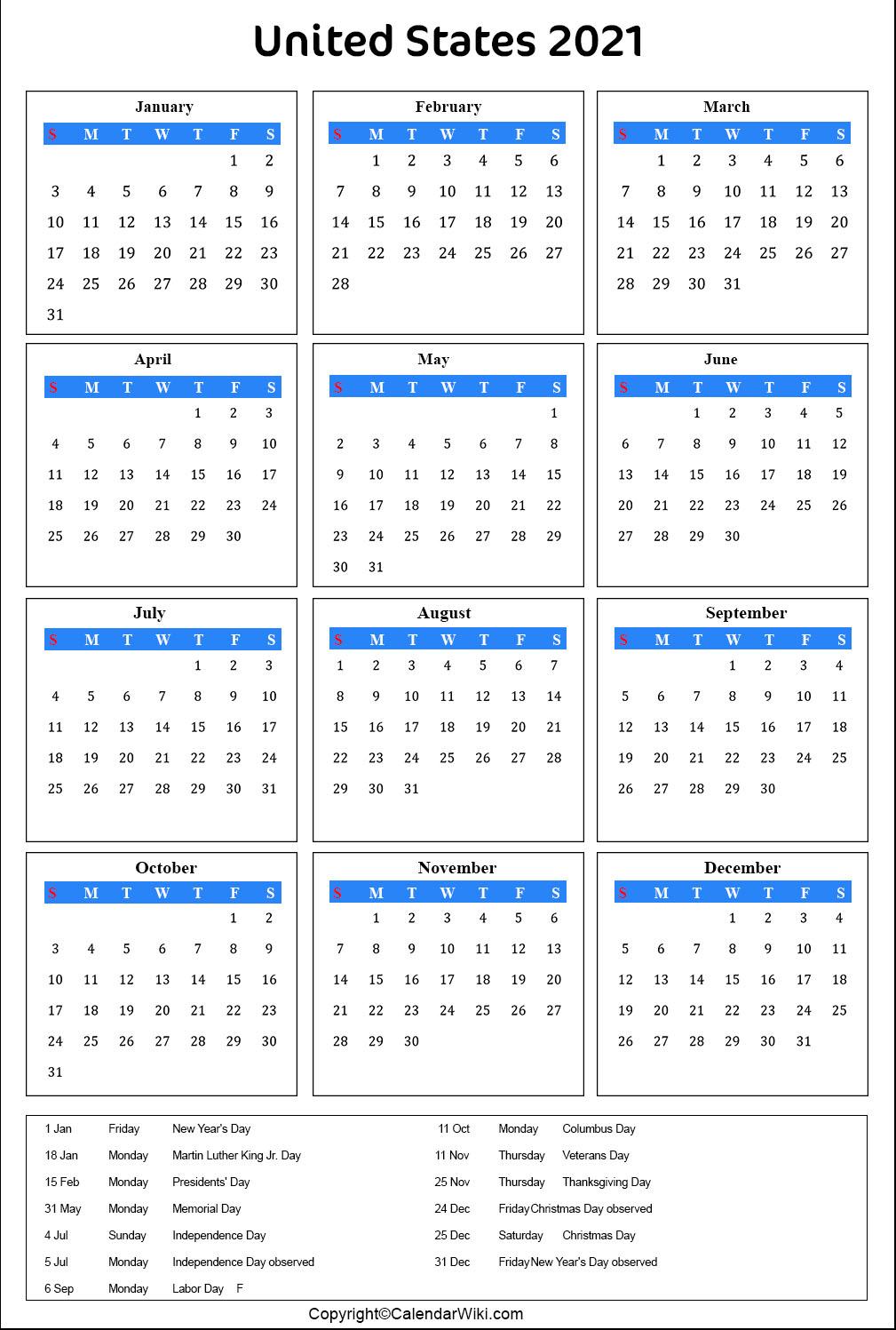 Printable Us Calendar 2021 With Holidays Public Holidays 1