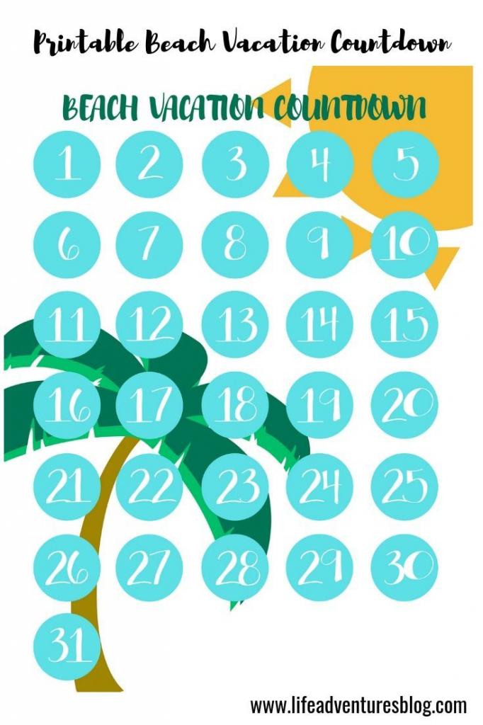 Printable Vacation Countdown Calendar Calendar Template 2020