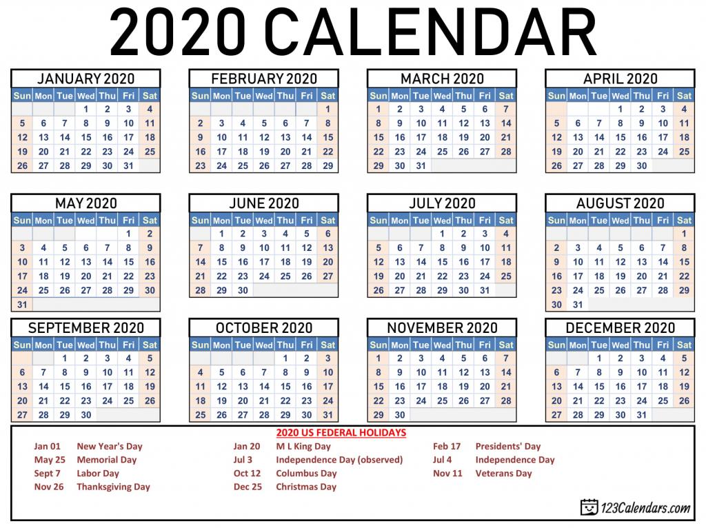 Printable Wallet Size Callendar 2020 Calendar Template 2020