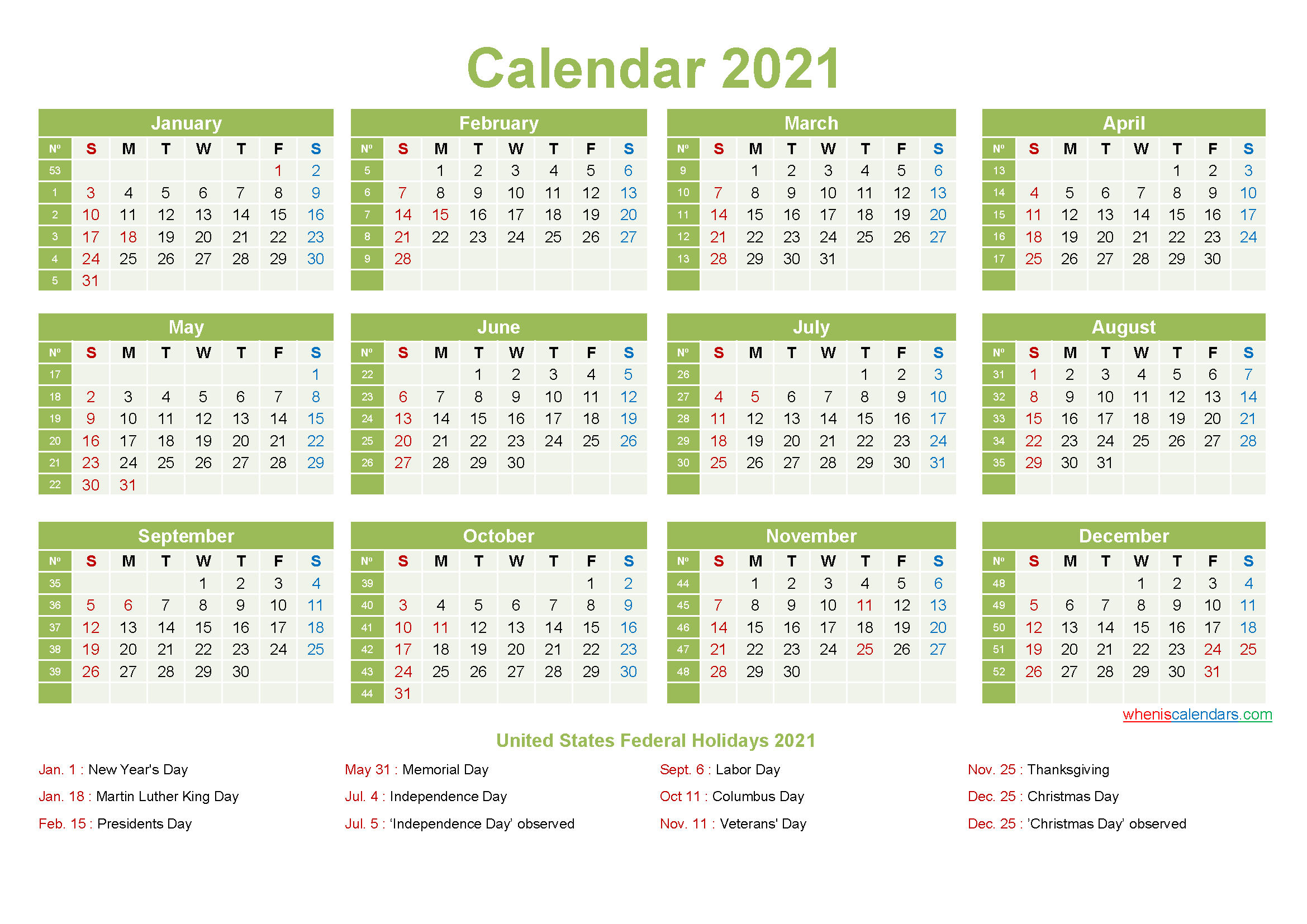 Printable Yearly 2021 Calendar With Holidays Word Pdf