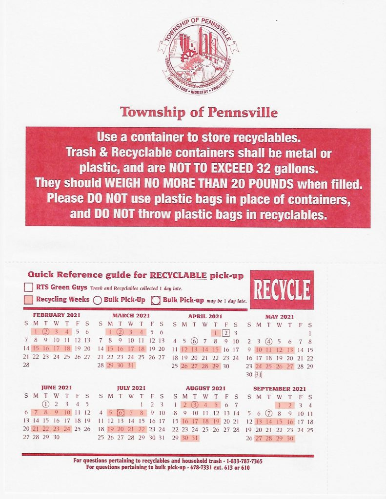 Recycle Schedule 2020 2021 Township Of Pennsville