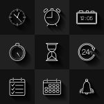 Set Of Contour Date Time And Calendar Icons Download