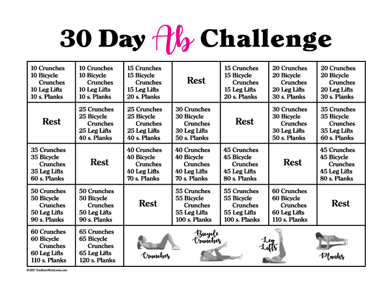 Southern Mom Loves 30 Day Ab Challenge With Calendar And 3