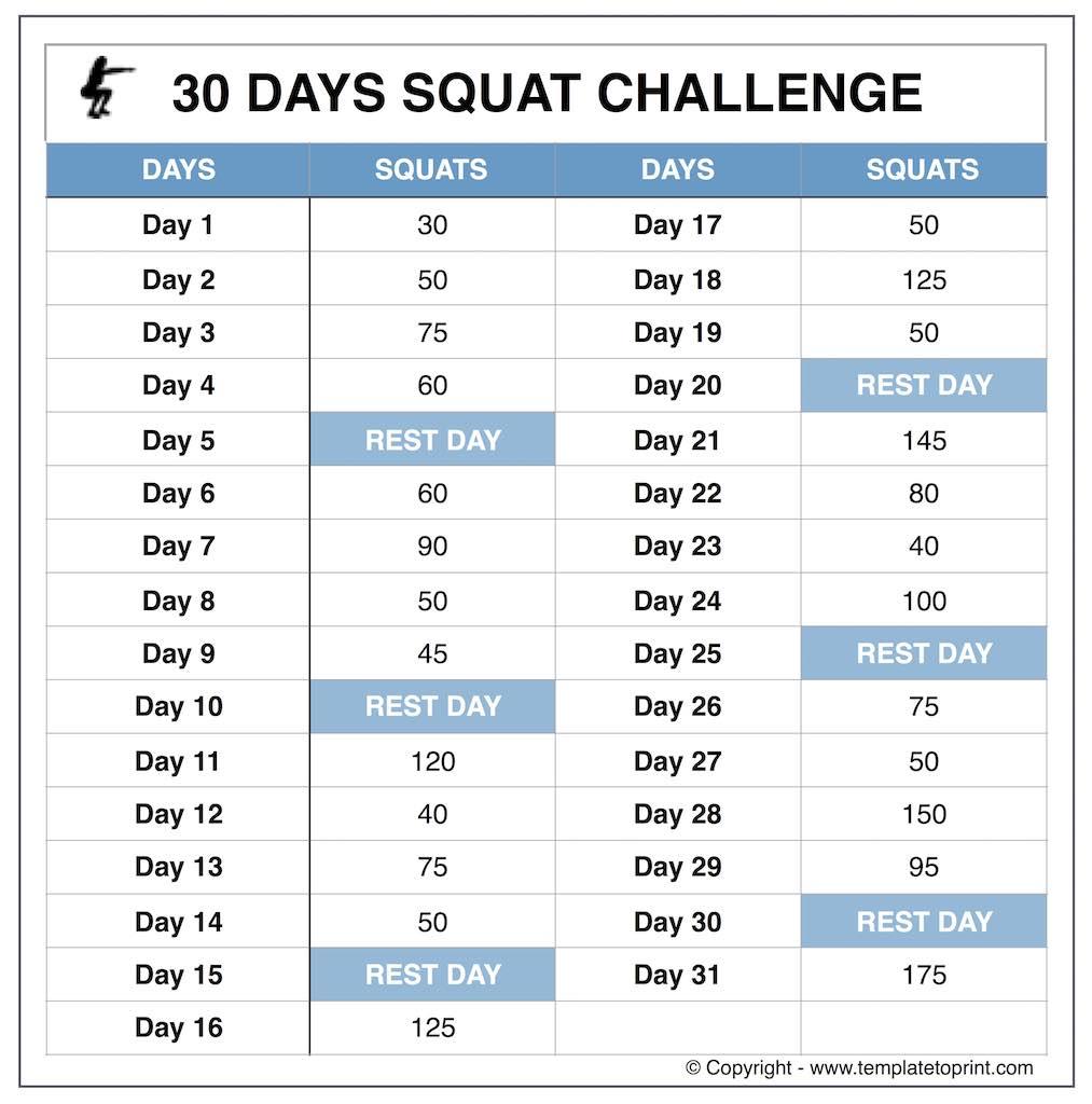 Squat Challenge Callendar Calendar Template 2020
