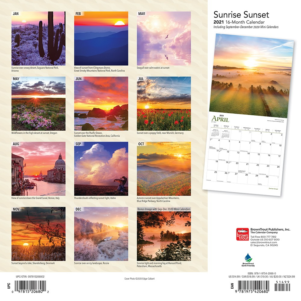 Sunrise Sunset 2021 12 X 12 Inch Monthly Square Wall