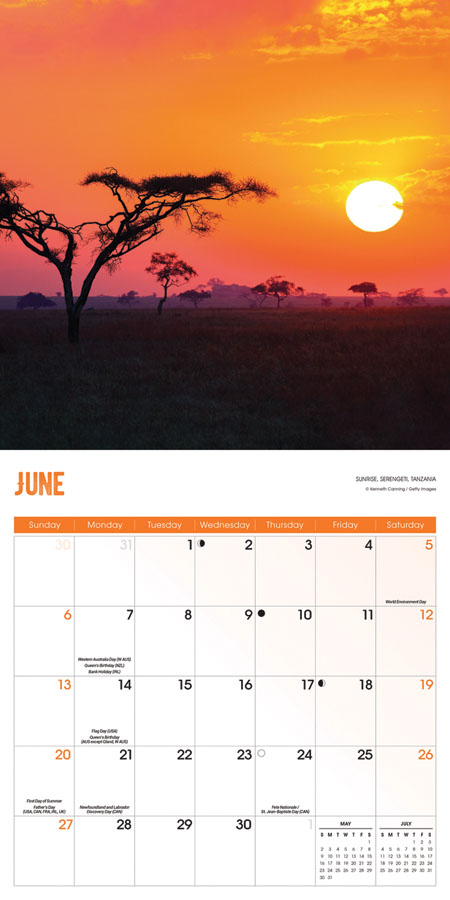 Sunrise Sunset Calendar 2021 Square Wall Carousel