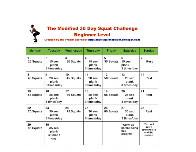 The 30 Day Squat Challenge For Beginners The Frugal
