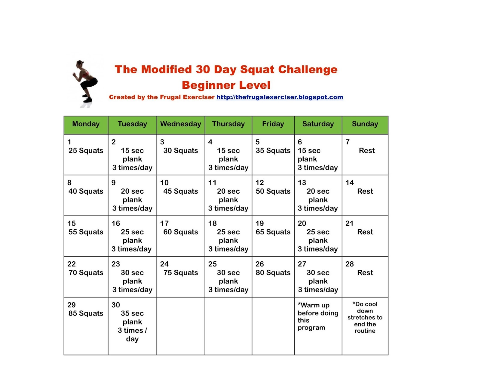 The Modified 30 Day Squat Challenge