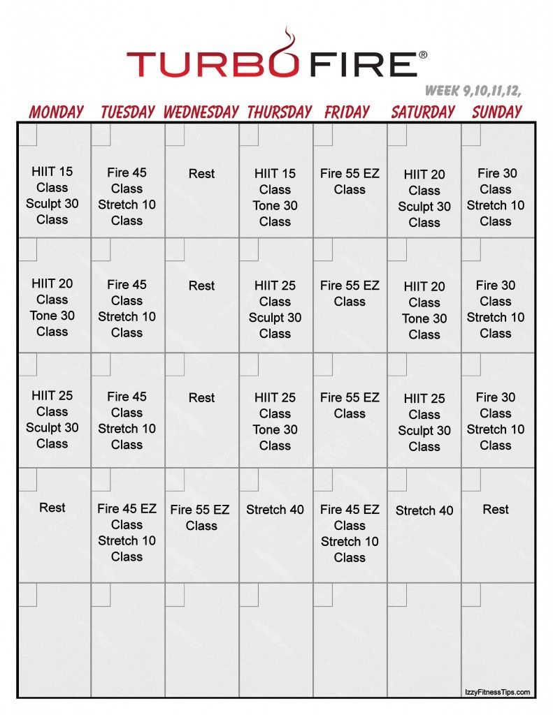Turbo Fire Calendar Vertical 3 Workout Calendar Workout