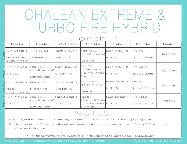 Turbo Fire Chalean Extreme Hybrid Schedulejenelle