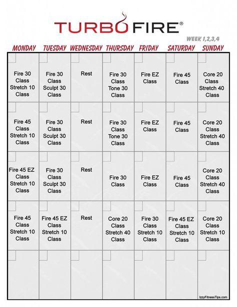Turbo Fire Workout Calendar In 2020 Turbo Fire Turbo