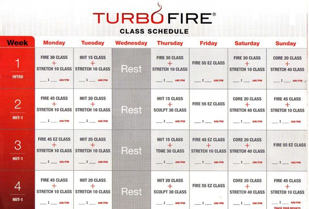 Turbofire Class Schedule Month 1 Turbo Fire Turbo Fire