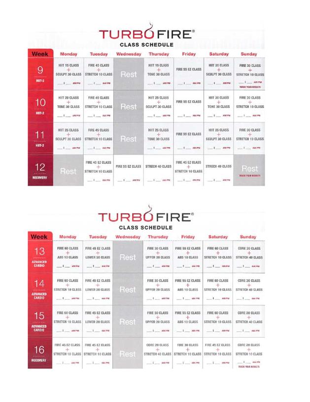 Turbofire Class Schedulee5telle Turbo Fire Schedule