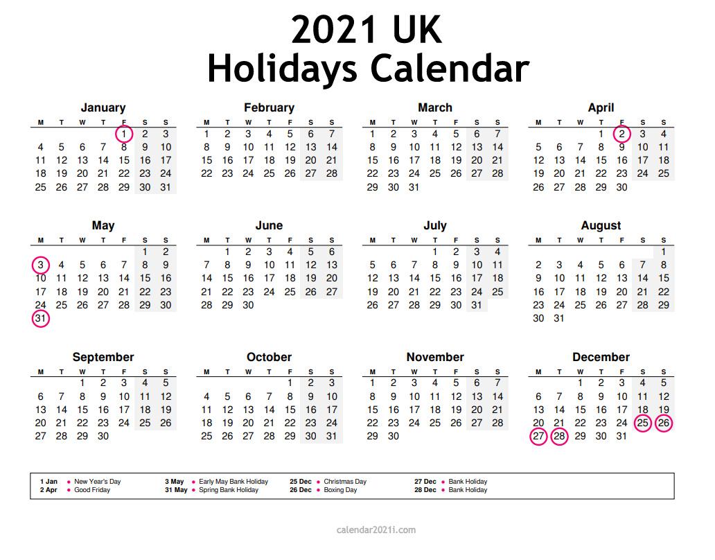 Uk 2021 Calendar Printable Holidays Word Excel Pdf