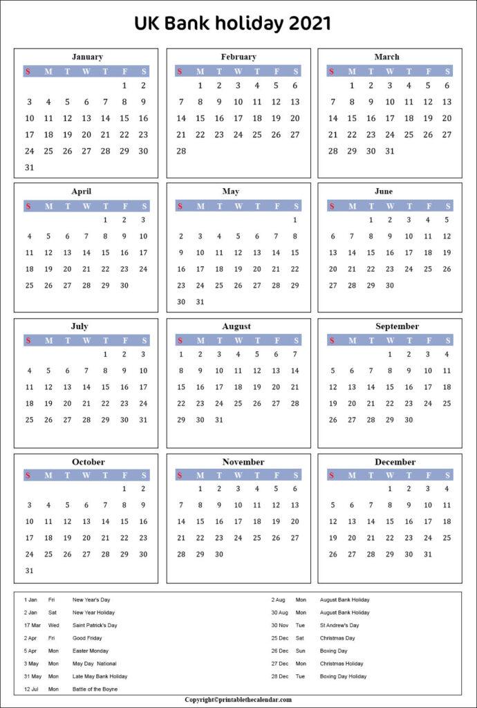 Uk Bank Holiday Calendar 2021 Printable The Calendar