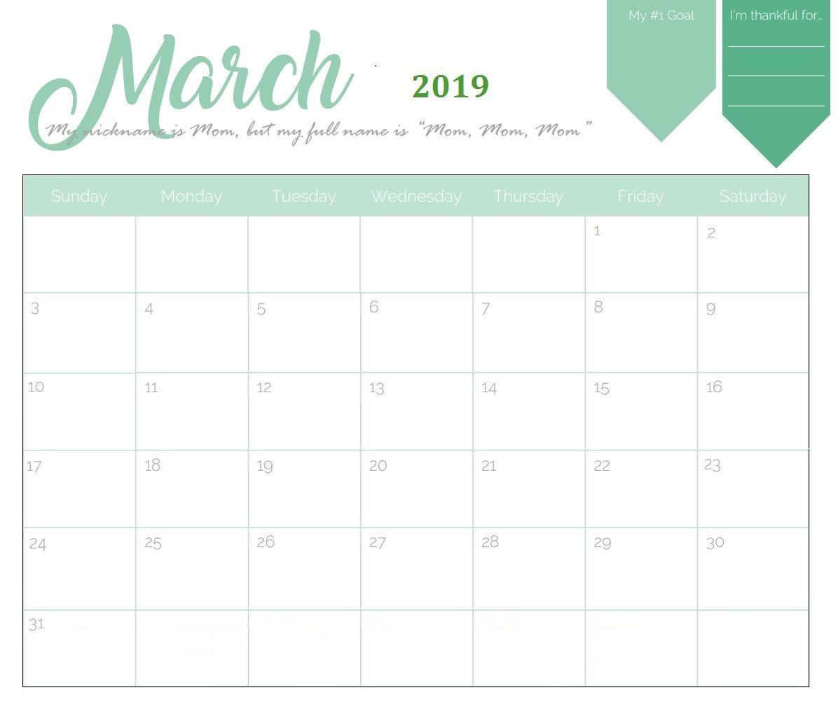 Unique March 2019 Calendar Template March Marchcalendar