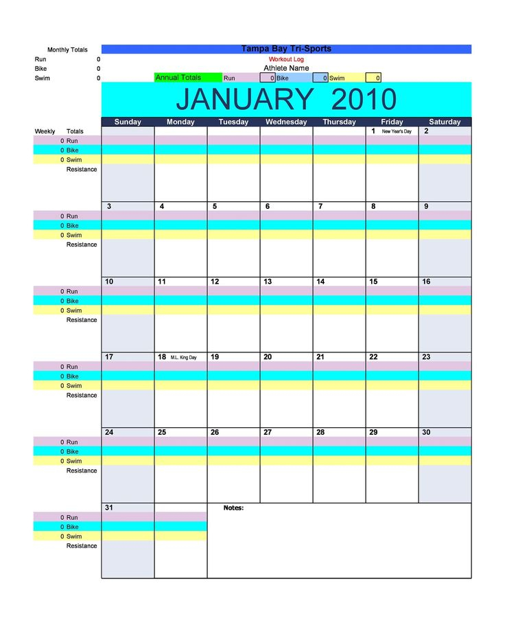 Universal 30 Day Free Fillable Blank Template Workout In