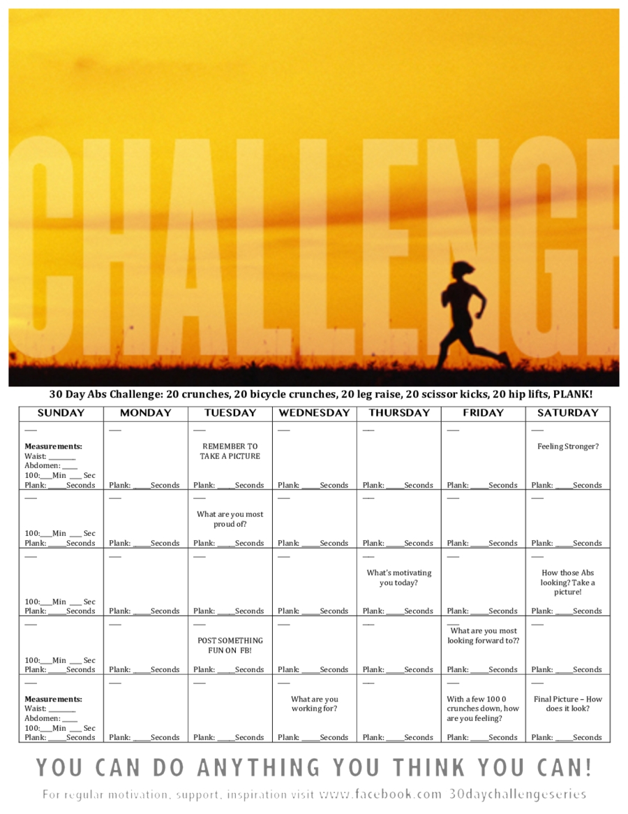Universal 30 Day Free Fillable Blank Template Workout