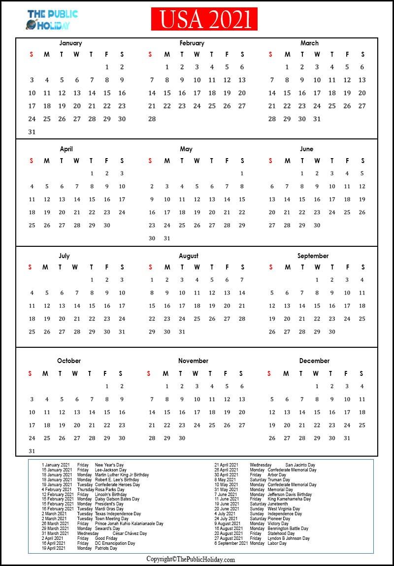 Us Holidays 2021 Calendar Public National Federal Bank