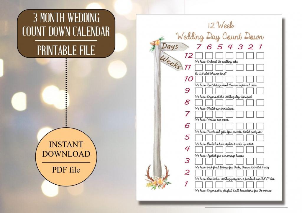 Wedding Countdown Printable Calendar Template 2020