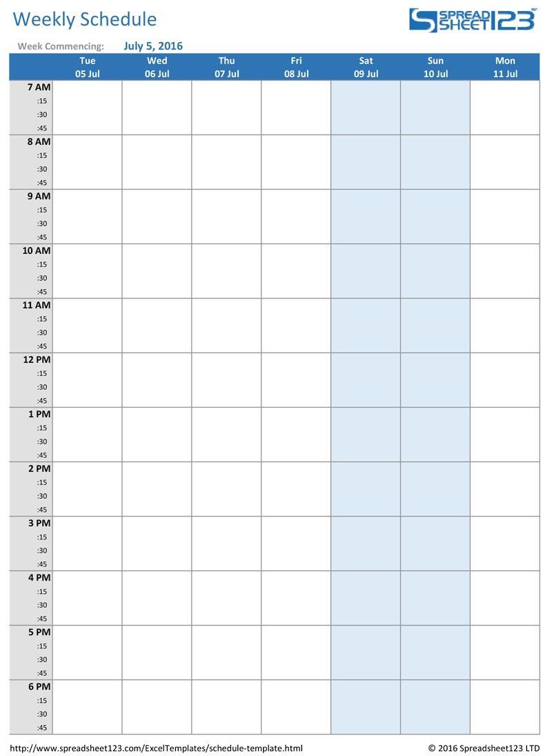 Week Calendar Hour Slots Ten Free Printable Calendar 1