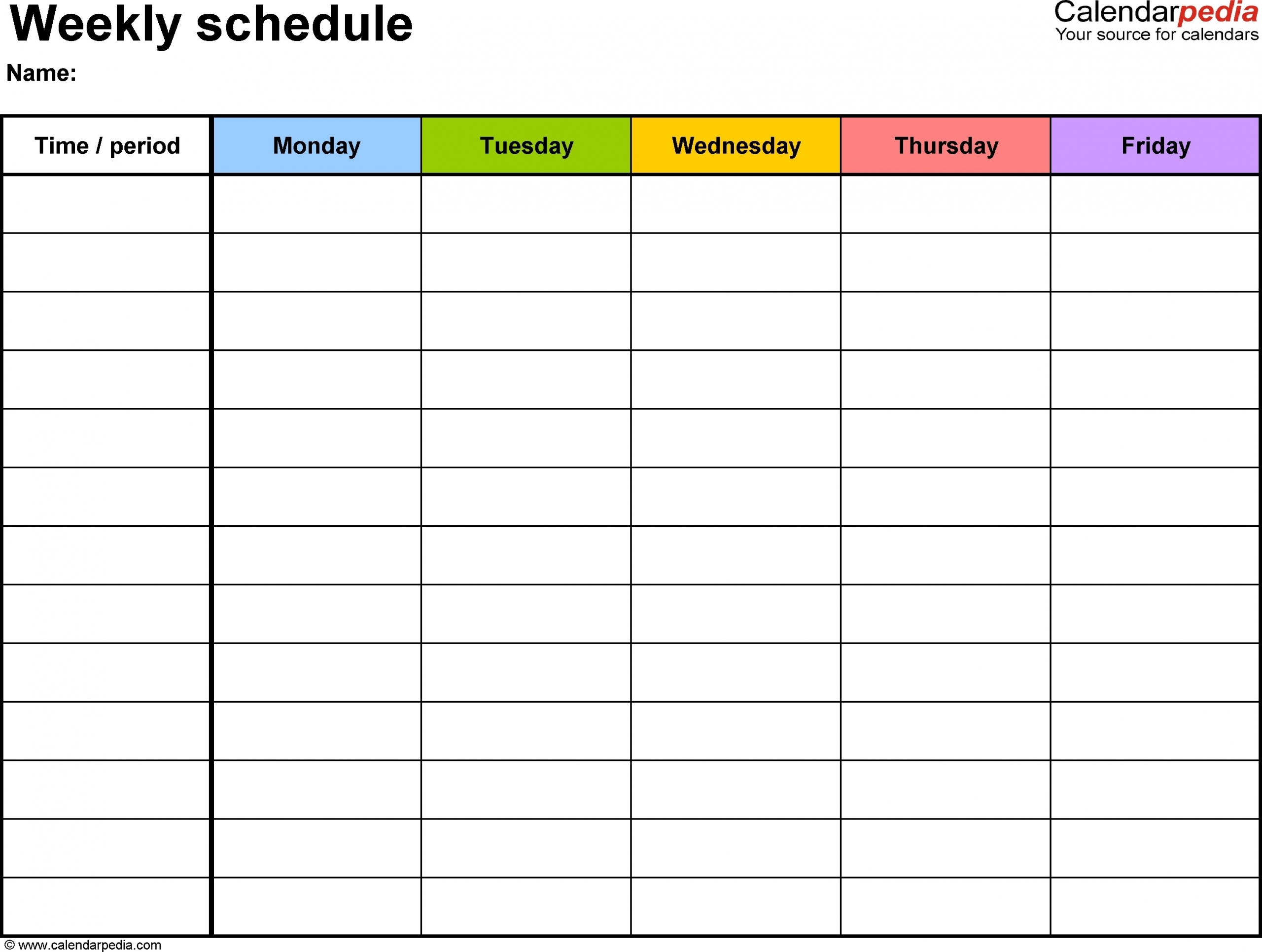 weekly calendar with time slots ten free printable