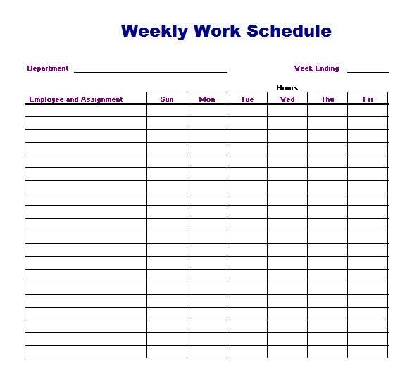 Weekly Work Schedule Template 8 Free Word Excel Pdf