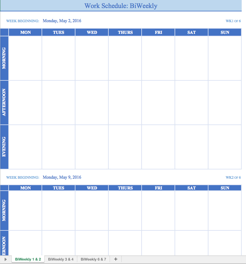 Weekly Work Schedule Template Task List Templates