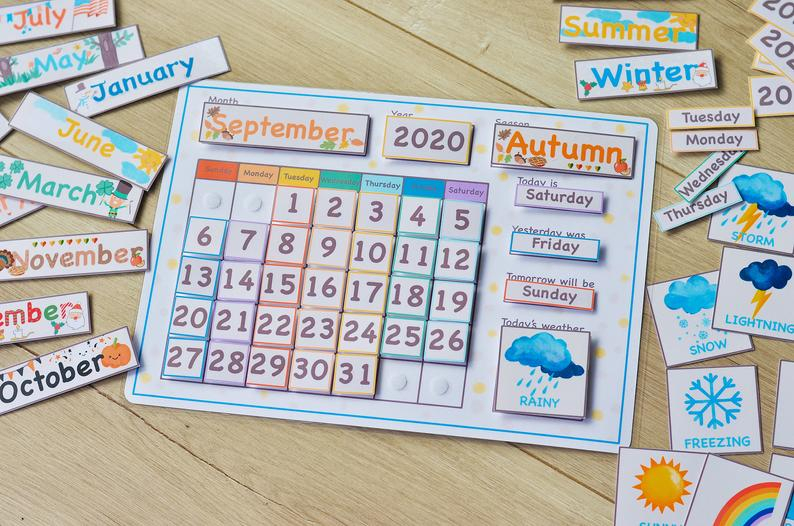 White Perpetual Calendar Kids Calendar Printable Classroom