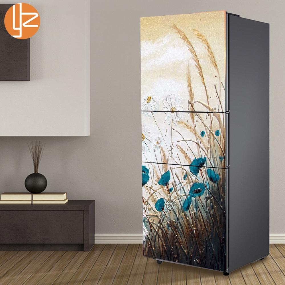 Yazi Flowers Pattern Fridge Sticker Pvc Refrigerator Door