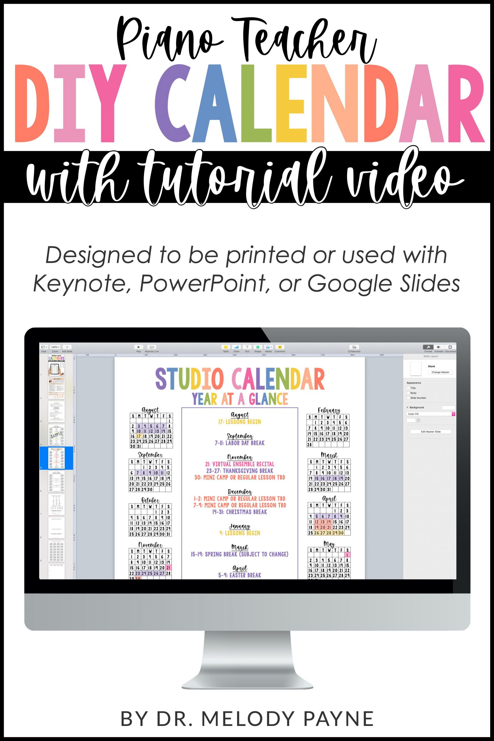 Year At A Glance Single Page Calendar Editable In 2020