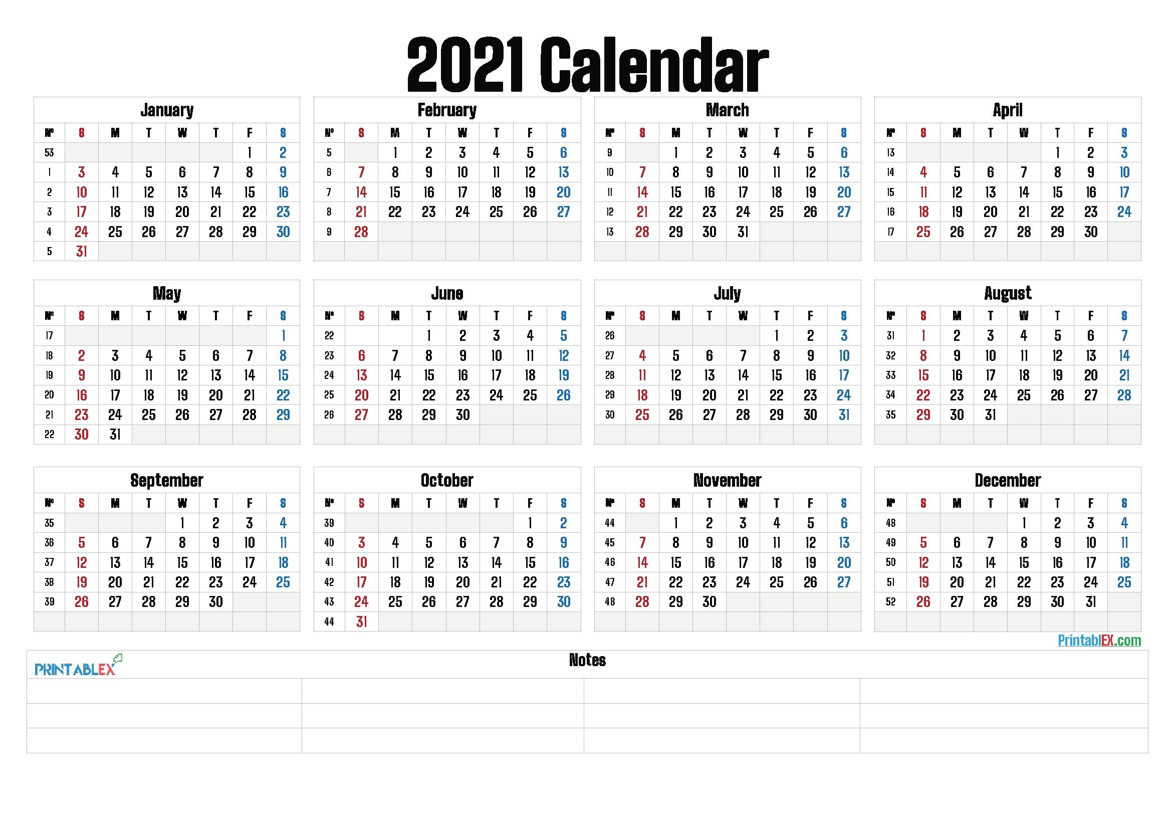 Year Calendar With Weeks Ten Free Printable Calendar