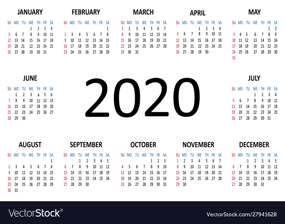 Yearly Calendar 2020 Week Starts From Sunday Vector Image