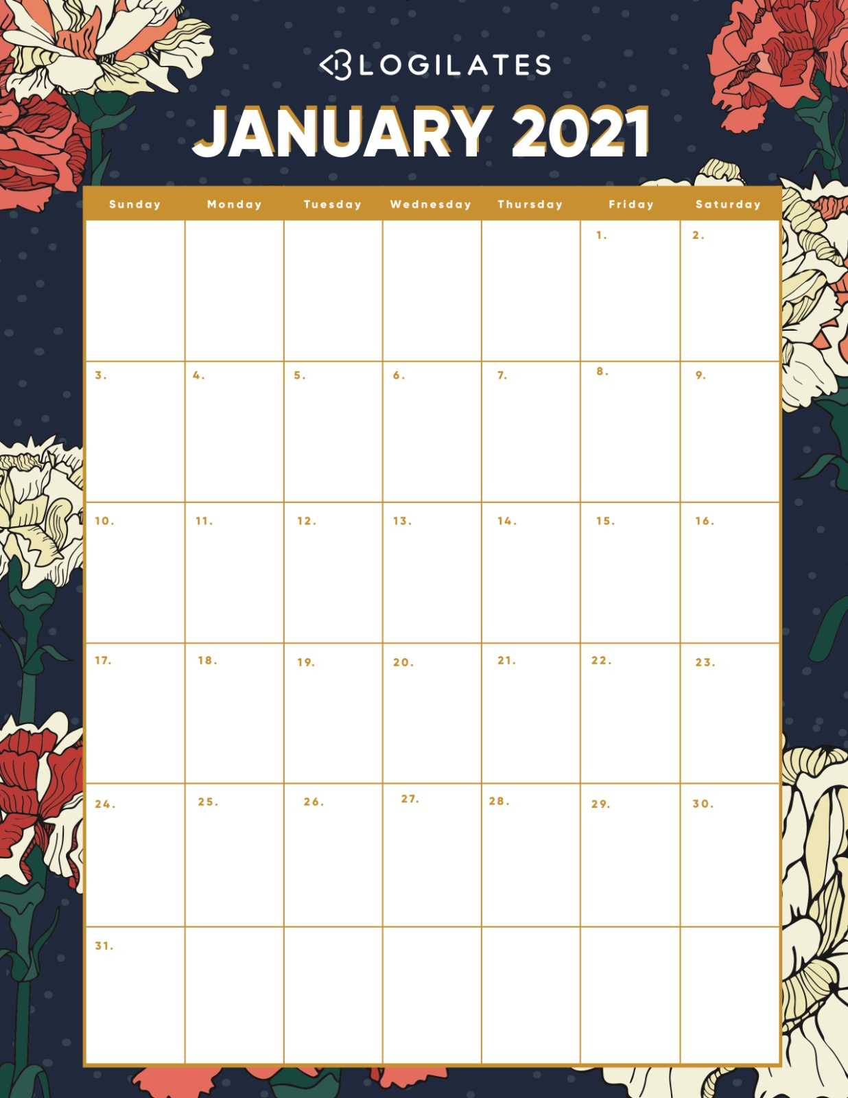 Your Free 2021 Printable Calendars Are Here Blogilates