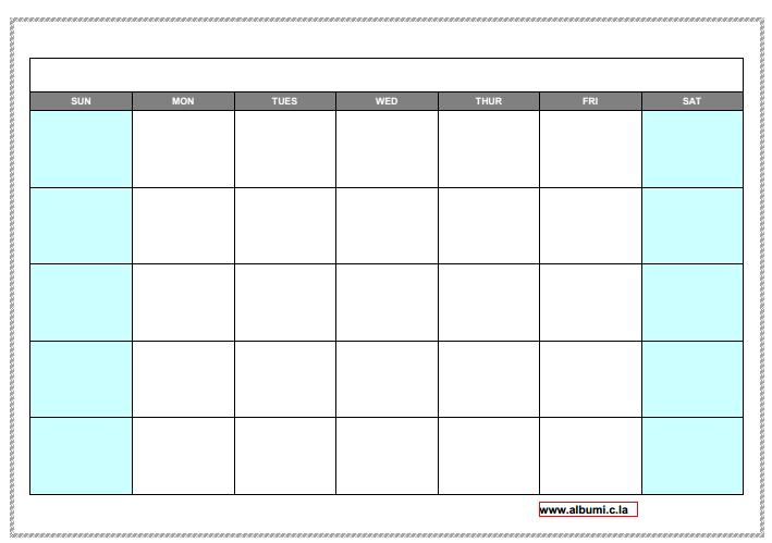 10 Blank Calendar Grid Collection 2015 To Print 2016