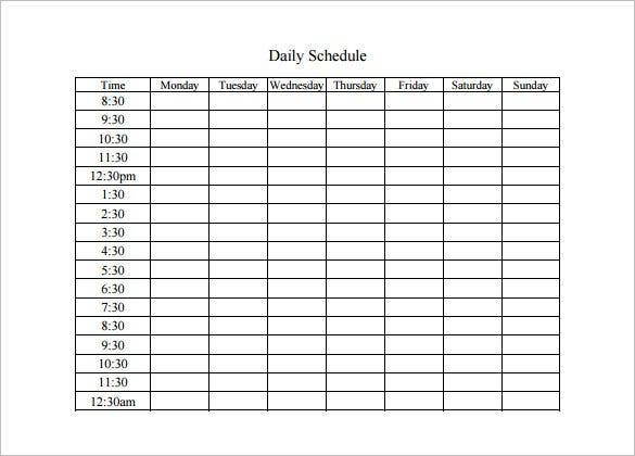 10 Daily Schedule Templates Docs Pdf Free Premium