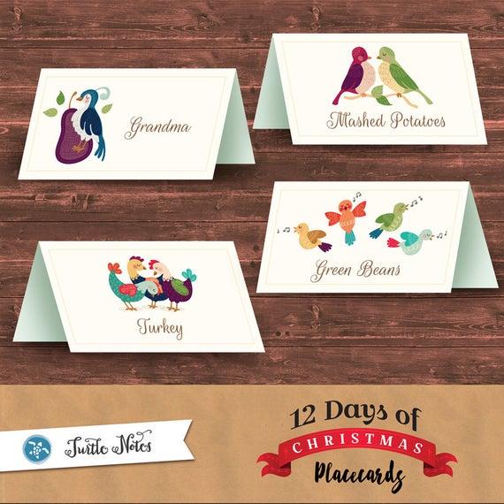 12 editable twelve days of christmas place cards