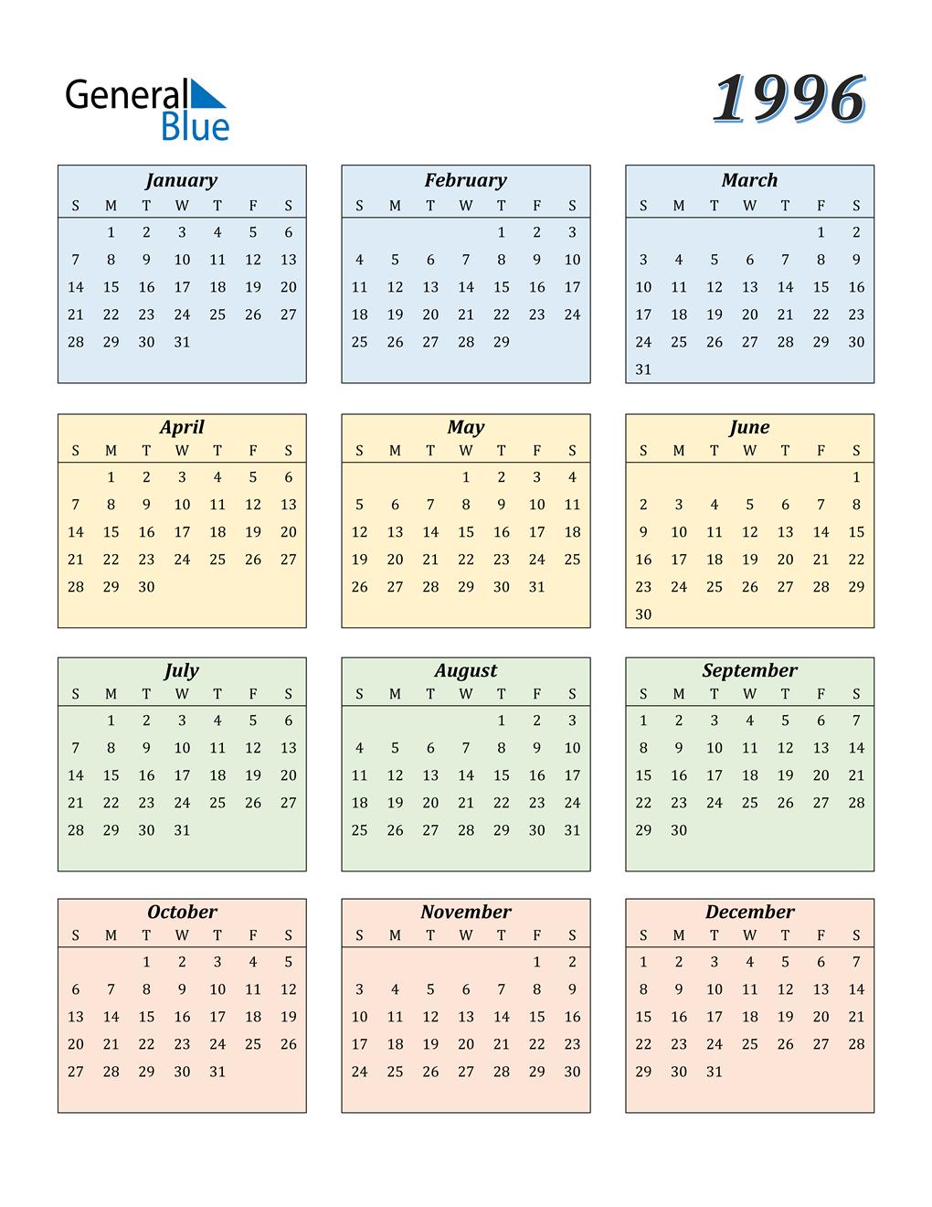1996 Calendar Pdf Word Excel