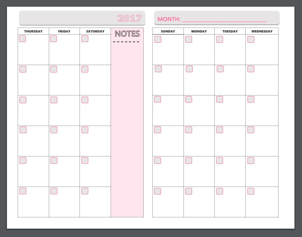 2 Page Monthly Planner Template Example Calendar Printable 1