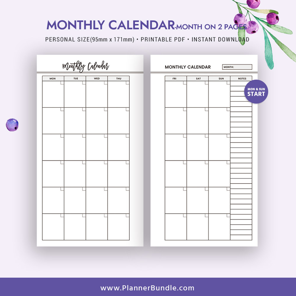2 Page Monthly Planner Template Example Calendar Printable
