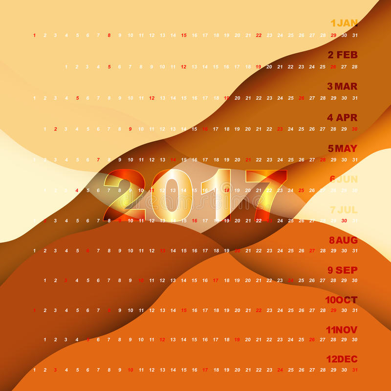 2017 Calendar On Orange Abstract Background Stock Vector Illustration Of Minimal Calendar